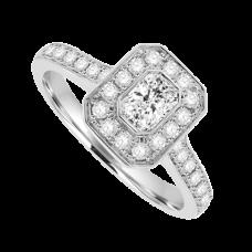 18ct White Gold Phoenix Diamond Rubover Halo Ring