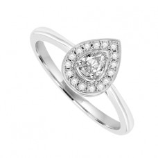 18ct White Gold Pear cut Diamond Halo Ring