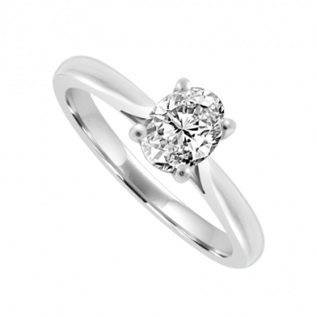 18ct White Gold Solitaire Oval cut Diamond Ring