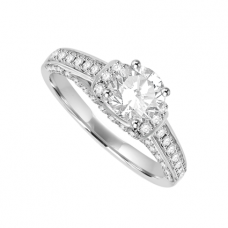 18ct White Gold Diamond Solitaire Art Deco Ring