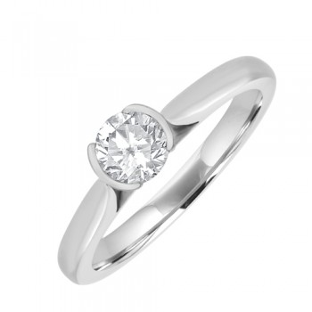 18ct White Gold Solitaire Engagment Ring. Part/Rub