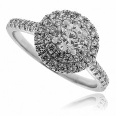 18ct White Gold Solitaire Diamond Double Halo Ring