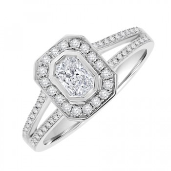 18ct White Gold Solitaire Phoenix EVVS2 Diamond Halo ring