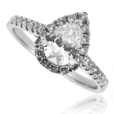 18ct White Gold Pear Cut Diamond Solitaire Halo Ring