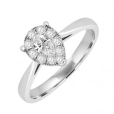 18ct White Sol/Cluster Diamond Pear/Shaped