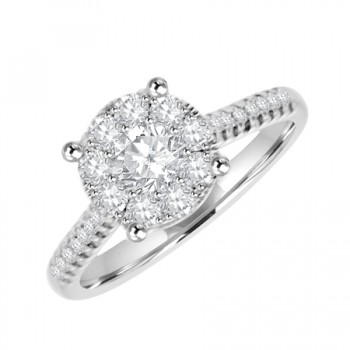 18ct White Gold Solitaire Illusion Diamond Engagement Ring