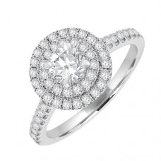 18ct White Solitaire Diamond Ring with Double Halo