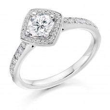 18ct White Gold Solitaire Diamond Compass Square Halo Ring