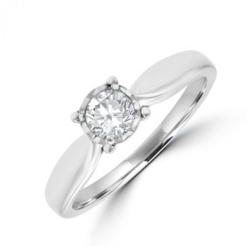 18ct Solitaire Diamond Ring .33ct Illusion Setting