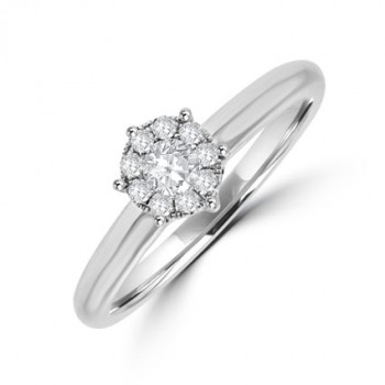18ct White Gold Diamond Illusion Solitaire Ring