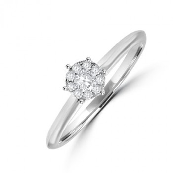18ct White Gold Diamond Solitaire Illusion Engagement Ring