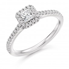 18ct White Gold Princess cut Diamond Solitaire Halo Ring