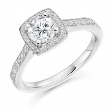 18ct White Gold Solitaire Diamond Square Halo Ring