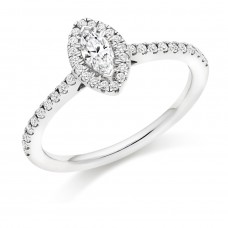 18ct White Gold Solitaire Marquise FVS2 Diamond Halo Ring