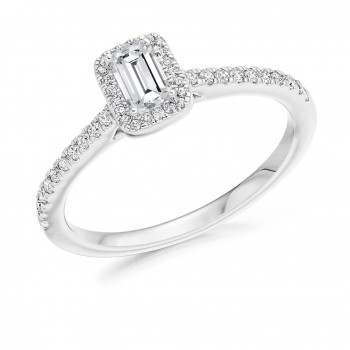 18ct White Gold Solitaire Emerald cut FVS2 Diamond Halo Ring