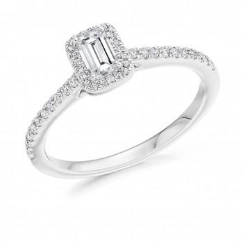 18ct White Gold Solitaire Emerald cut FVS2 Diamond Halo Ring