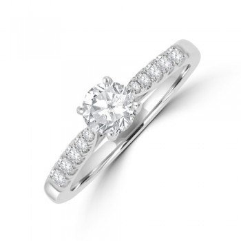 18ct White Gold Solitaire EVS2 Diamond Ring