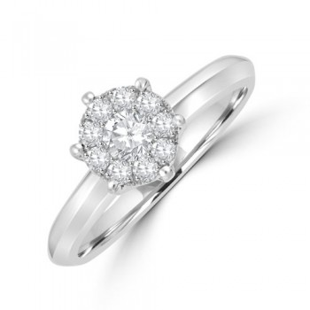 18ct White Gold Solitaire Illusion .41ct Diamond Cluster Ring