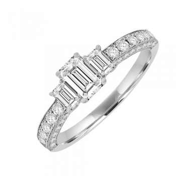 18ct White Gold 3 Stone Diamond Ring. x3 Emerald Cut Centre
