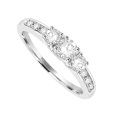 18ct White Gold 3-stone Diamond Ring with set shoulders