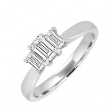 18ct White Gold Three-stone Emerald cut Diamond Ring
