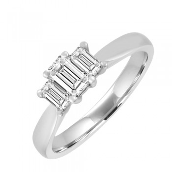 18ct White Gold 3st Emerald Cut Diamond Engagment Ring