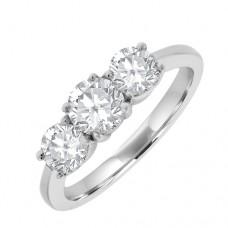 18ct White Gold 3 Stone Diamond Engagement Ring