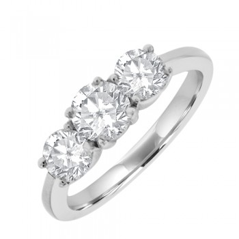 18ct White Gold 3 Stone Diamond Engagement Ring