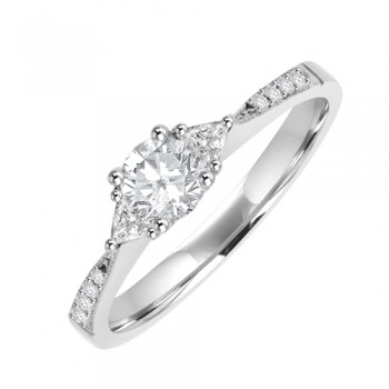 18ct White Gold 3 Stone Diamond Engagment Ring