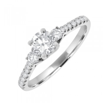 18ct White Gold Three-stone Diamond Ring with set Shoulders