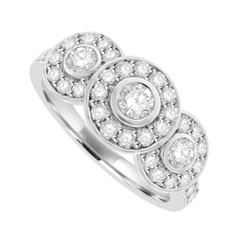 18ct White Gold 3-stone Diamond Halo Ring