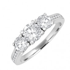 18ct White Gold 3-stone GVS2 Diamond Ring