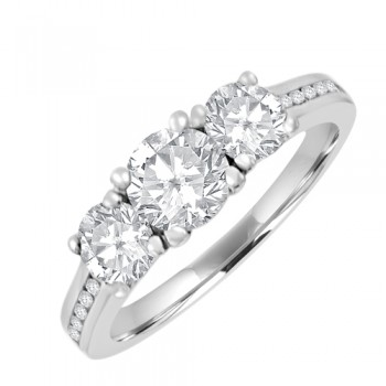 18ct White Gold 3-stone Certified GVS2 Diamond Ring