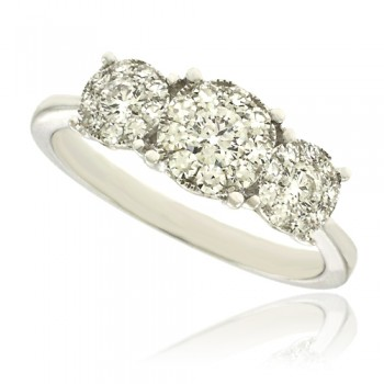 18ct White Gold 3-Stone Diamond Illusion Cluster Ring