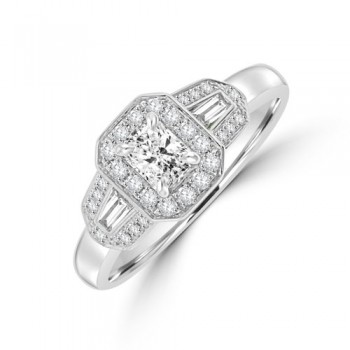 18ct White Gold Phoenix ELC Diamond Triple Cluster Ring