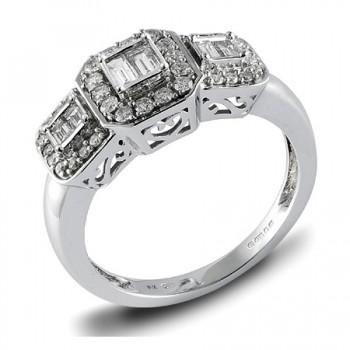 18ct White Gold Three Stone Baguette Diamond Halo Ring