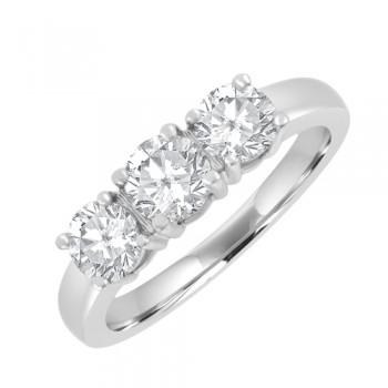 18ct 3 Stone Diamond Ring Trilogy Style