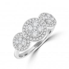 18ct White Gold Triple Cluster Halo Diamond Ring