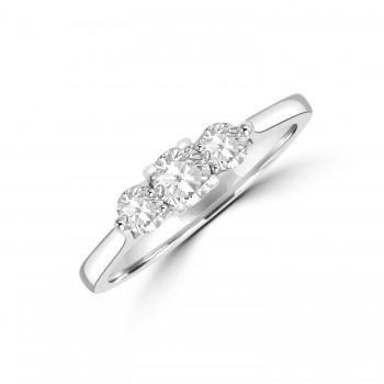 18ct white gold diamond Three-stone ring