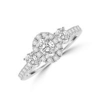 18ct White Gold Oval Halo Diamond 3-stone Ring
