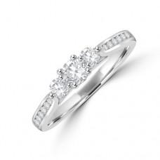 18ct White Gold Three-stone .50ct Diamond 4x3 Claw Ring
