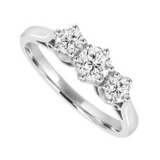 18ct White Gold Three-stone .51ct Diamond Traditional Claw Ring