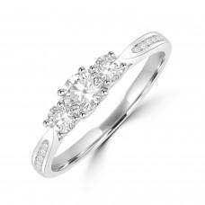 18ct White Gold Three-stone .50ct Diamond Ring