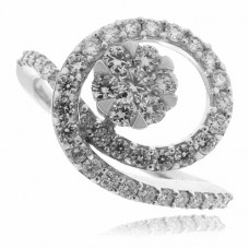 18ct White Gold 7-stone Diamond Cluster Spiral Ring