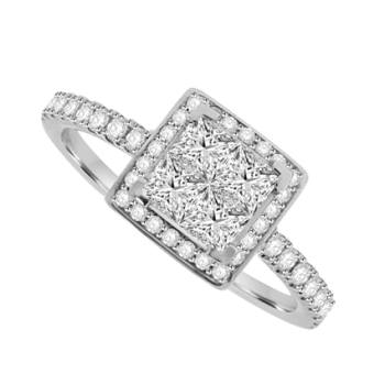 18ct White Gold 4-Stone Princess cut Diamond Cluster Halo Ring