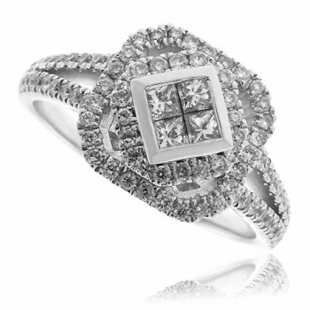 18ct White Gold Princess cut & Pave Diamond Cluster Ring