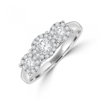 18ct White Gold Triple Cluster .56ct Diamond Ring
