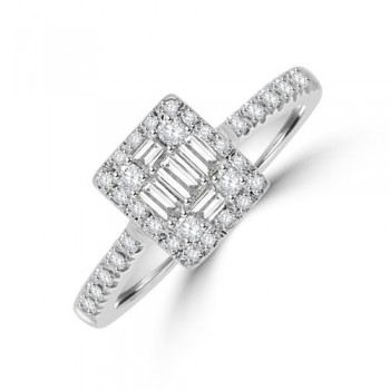 18ct White Gold Baguette .46ct Diamond Cluster Halo Ring