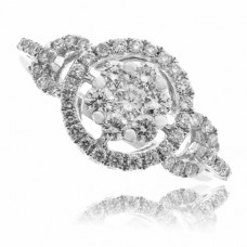 18ct White Gold 7-stone Cluster Pave Diamond Ring