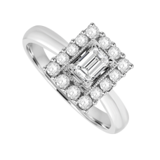 18ct White Gold 15-stone Emerald cut Diamond Cluster Ring